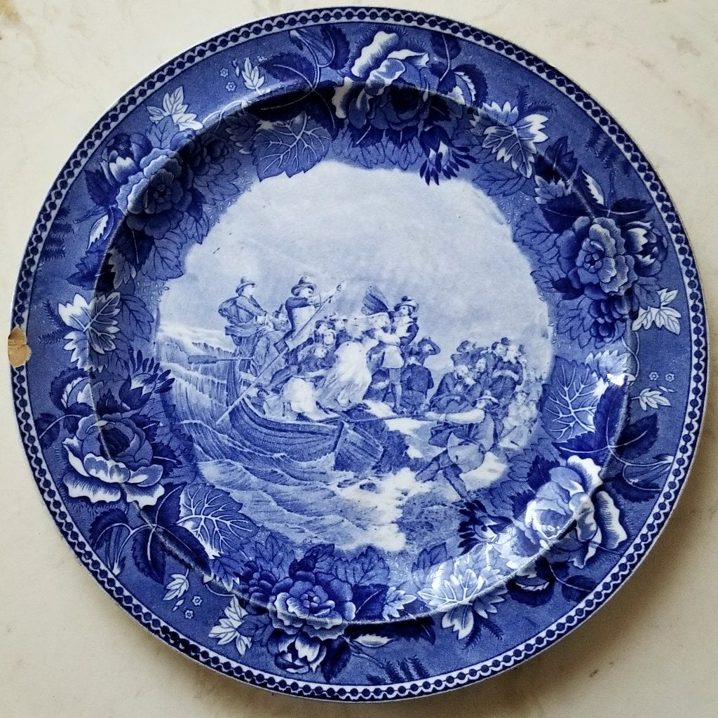 "Antique 1899 Flow Blue Wedgwood Historical Plate ""Landing of the Pilgrims"""