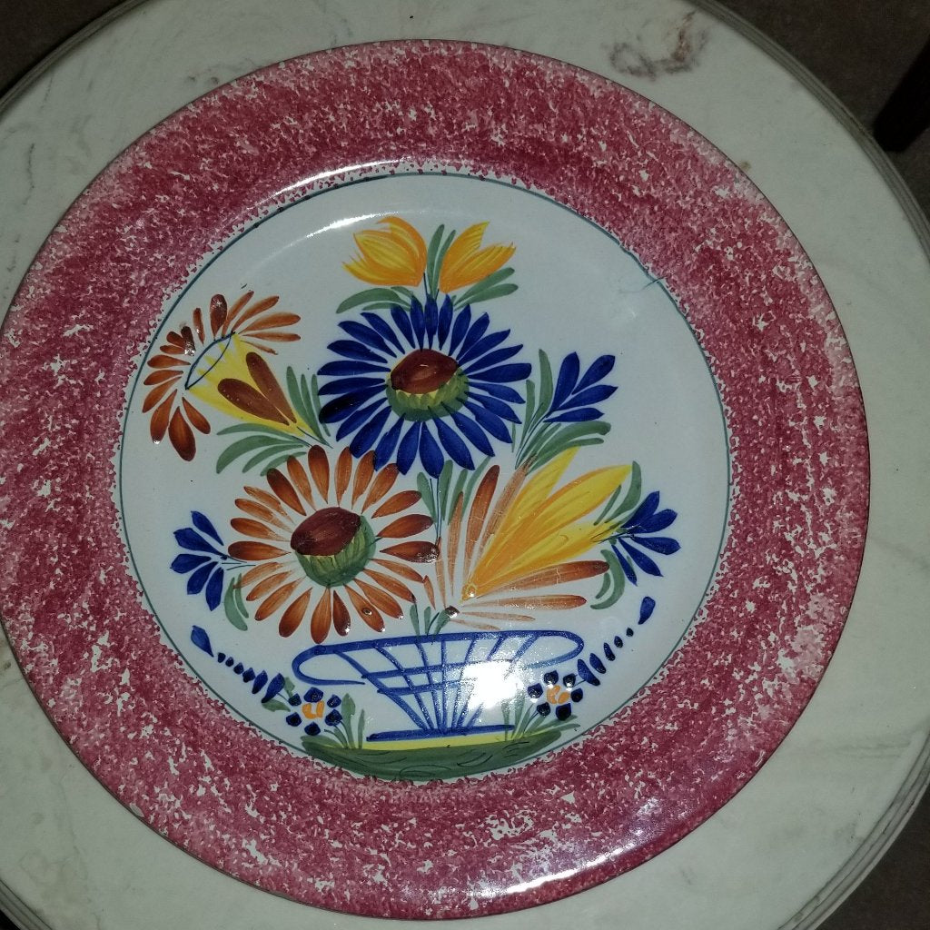 Rare Henriot Quimper Plate - Faience Flower Basket Custom Pattern