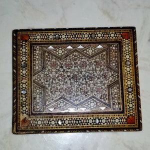 Antique Syrian Inlaid Mosaic Marquetry Wood Trinket Box