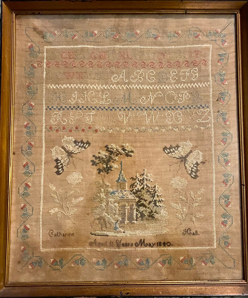 American Schoolgirl Needlework Dated 1840 by Catharine Hall