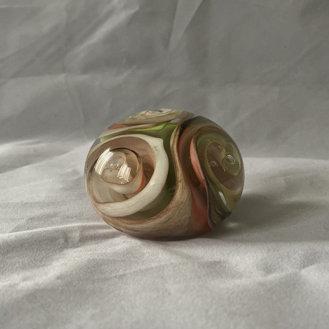 Vintage Flower Bloom Art Glass Paperweight