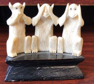 Speak No Evil, See No Evil, Hear No Evil - Ivory Monkey Figurine