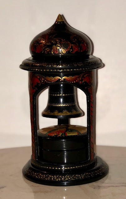 Rare Russian Lacquer Trinket Box - Bell Tower