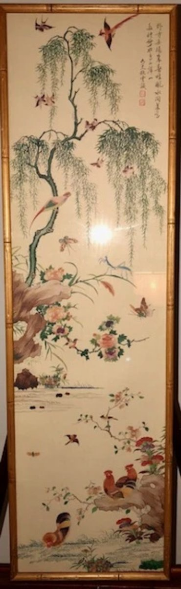 Watercolor on Silk of Roosters, Butterflies, Birds and Flowers