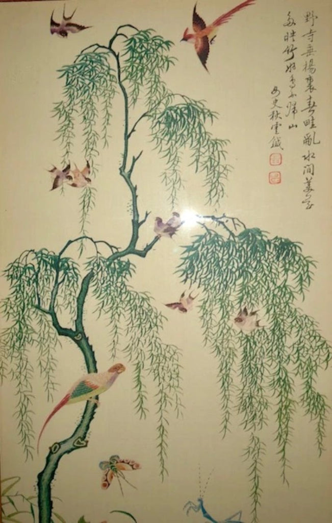 Original Chochungdo Painting - Roosters, Butterflies, Birds and Flowers