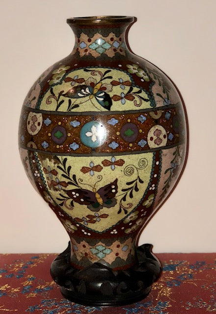 Antique Japanese Cloisonne Vase and Trinket Box