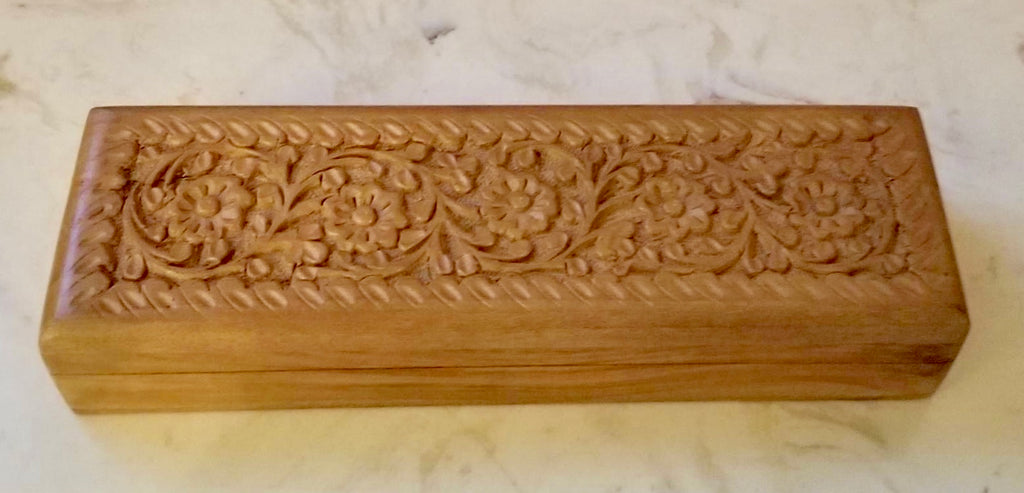 Hand Carved Teak Jewelry Box