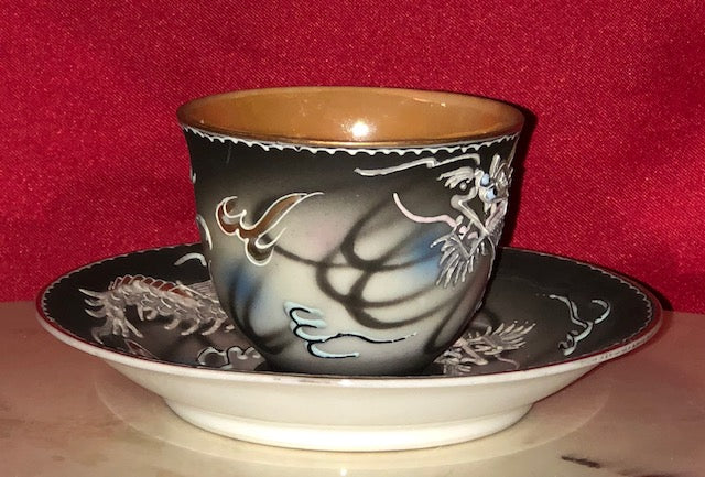 Japanese Dragonware Tea Cup and Saucer - Occupied Japan