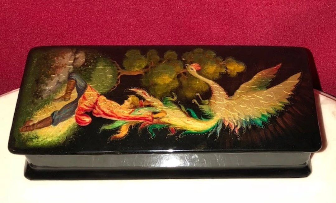 Antique Fedoskino Russian Lacquer Box