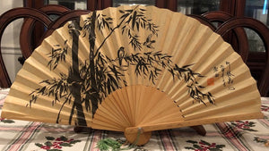 Antique Chinese Folding Hand Fan - Rice Paper