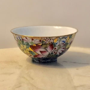 Famille Rose Thousand Flowers Chinese Porcelain Bowl