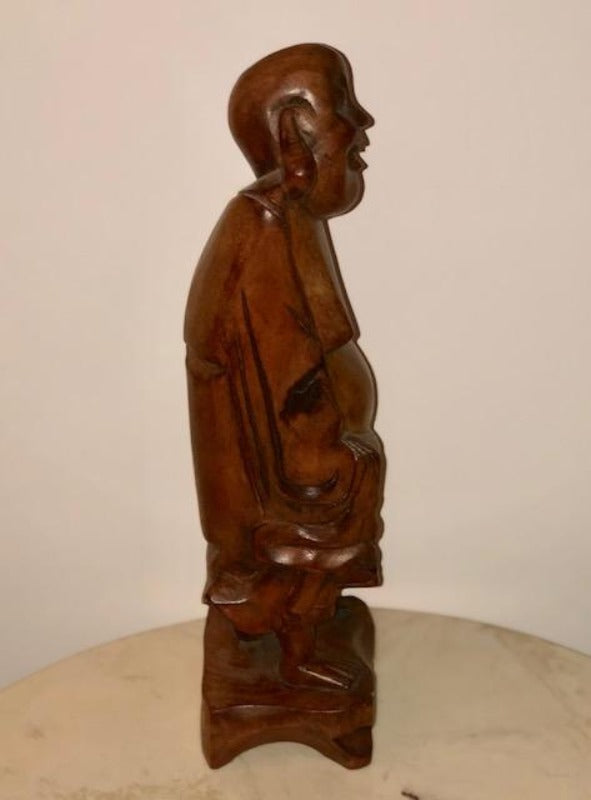 Carved Wood Statue - Happy Buddha (Made in Taiwan)