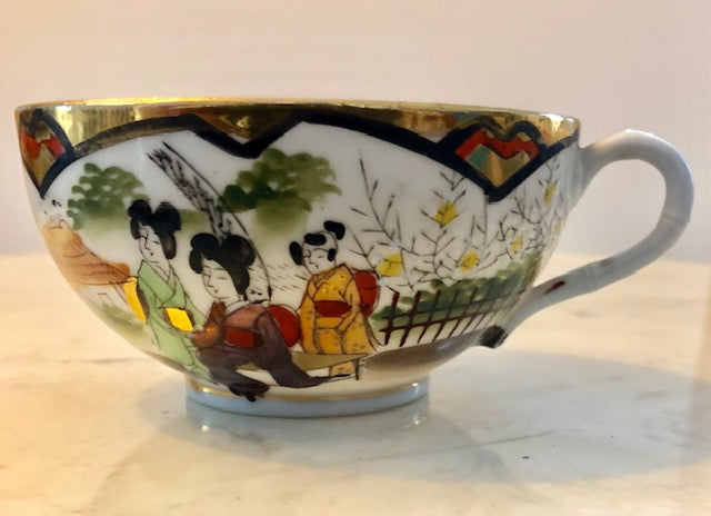 Gilded Geisha Girl Japanese Porcelain Teacup and Saucer