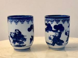 Japanese Blue and White Porcelain Tea Cups