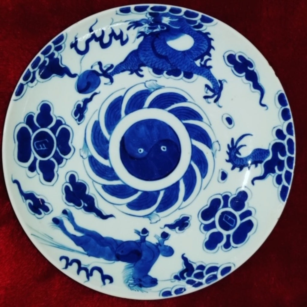 19th Century Bleu de Hue Horse and Dragon Dish