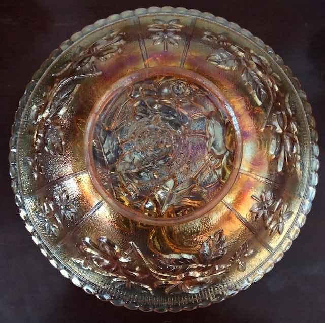 Antique Imperial Carnival Glass - Open Rose Marigold