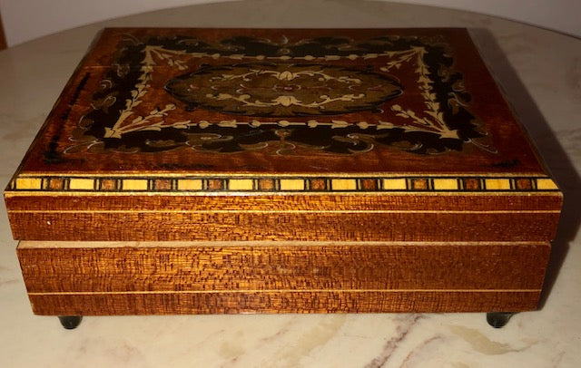 Vintage Russian Inlaid Wood Music Box