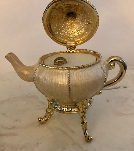 French Enamel Teapot Music Box - Collette et Cie