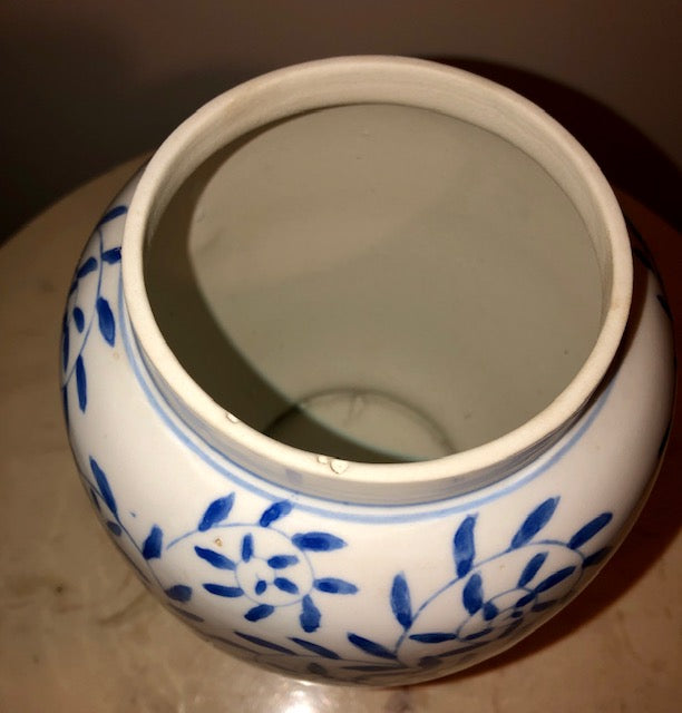 Hand Painted Chinese Blue & White Vase