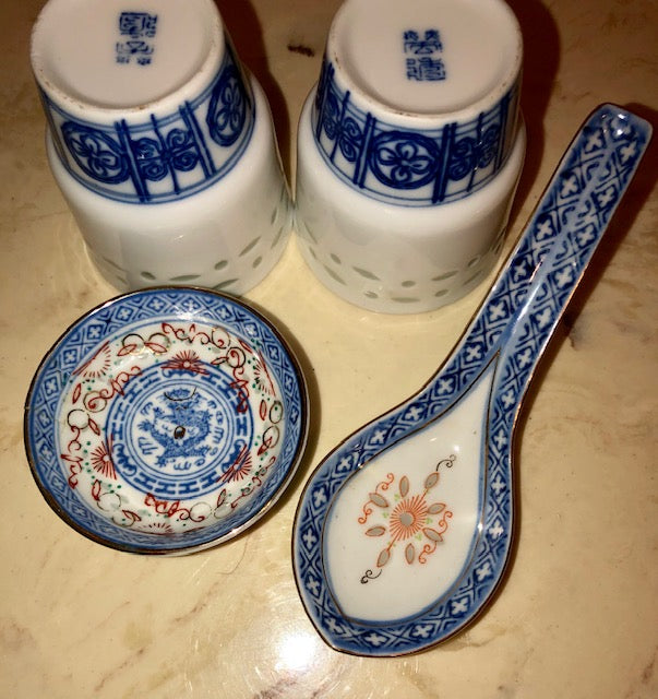 Rice Grain Porcelain Cups Dish Spoon