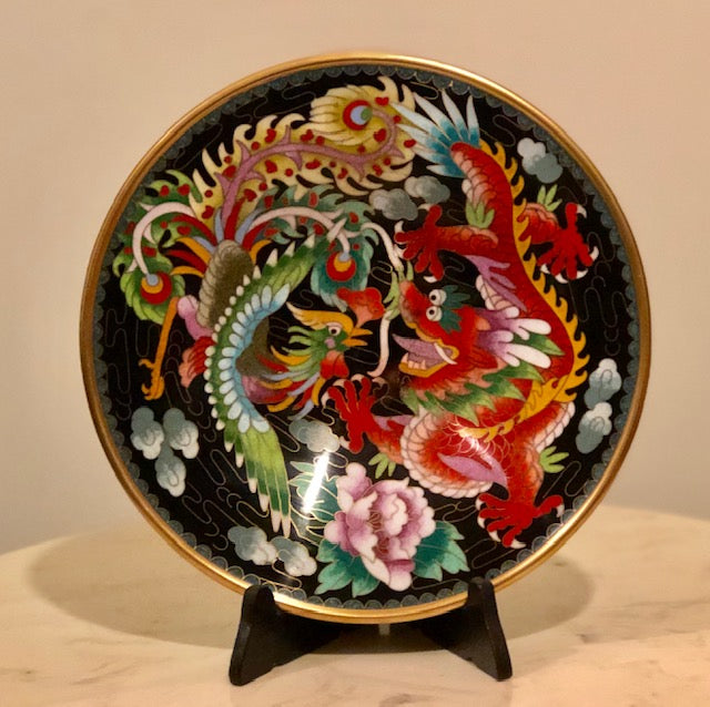 Chinese Cloisonne Plate - Dragon and Phoenix