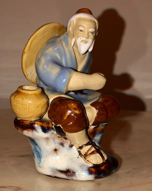 Chinese Mudman on Flambe Stump - Vintage