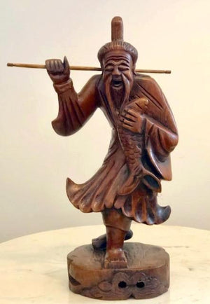 Chinese Fisherman Carved Wood Statue