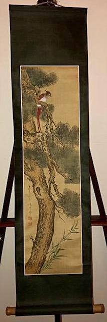 Chinese Watercolor on Silk Scroll Painting
