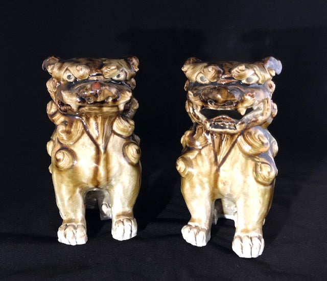 Antique Sancai Glaze Foo Dogs