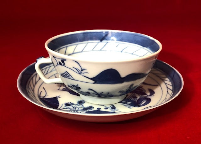 19th Century Canton Blue and White Cup and Saucer (Set of 5) Made in China