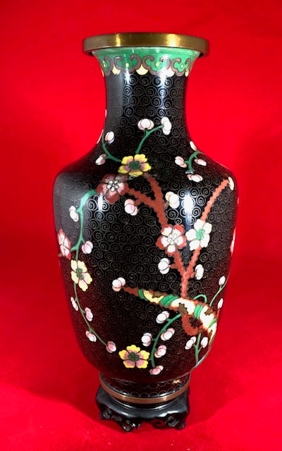 Antique Cloisonne Vase Black
