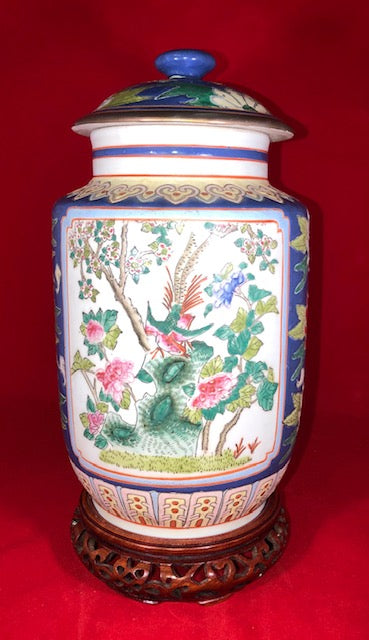 20th Century Pair Enameled Chinese Porcelain Jars