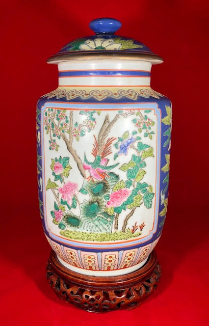 20th Century Pair Enameled Chinese Porcelain Jars Marked