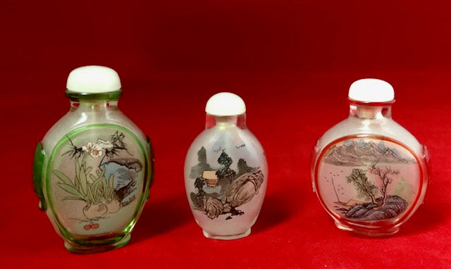 Vintage Reverse Painted Glass Snuff Bottle Lot