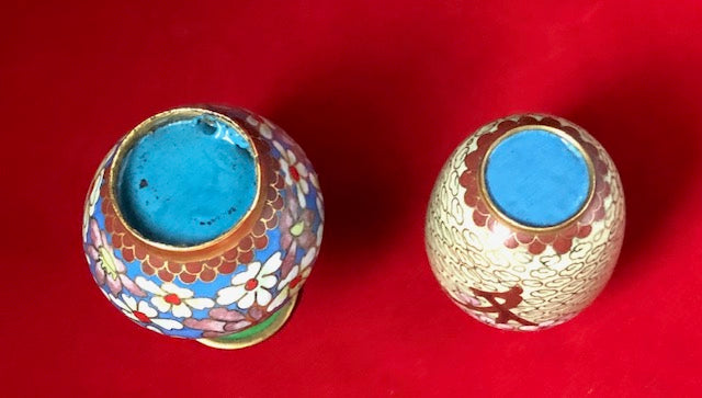 Pair of Antique Miniature Chinese Cloisonne Vases
