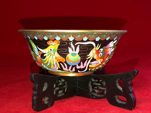 Vintage Chinese Cloisonne Dragon and Phoenix Bowl