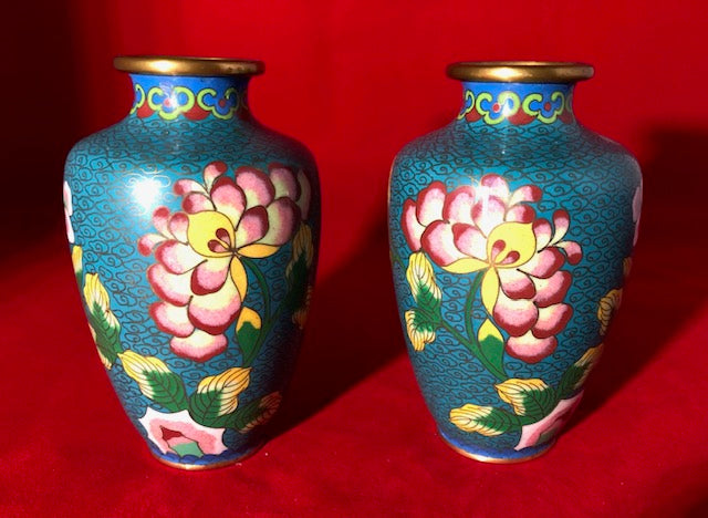Pair of Antique Chinese Cloisonne Vases