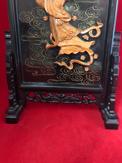 Black Lacquer Wood Gilt Japanese Table Plaque