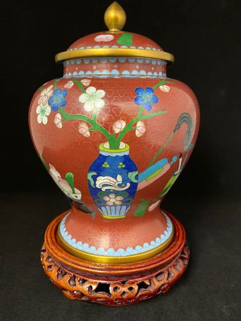 Antique Chinese Cloisonne Scholars Objects Vase
