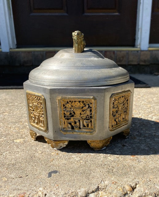 Antique Chinese Pewter and Gilt Precious Objects Incense Burner