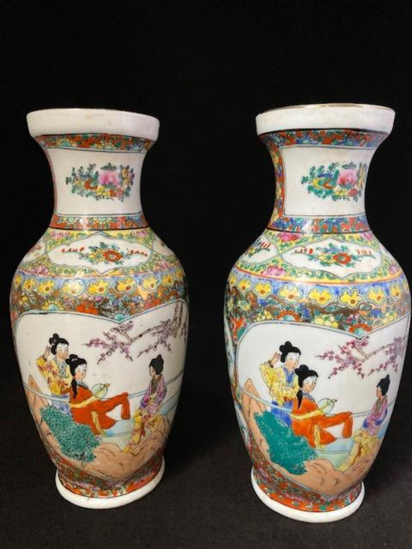 20th Century Pair Rose Medallion Chinese Porcelain Vase Marked