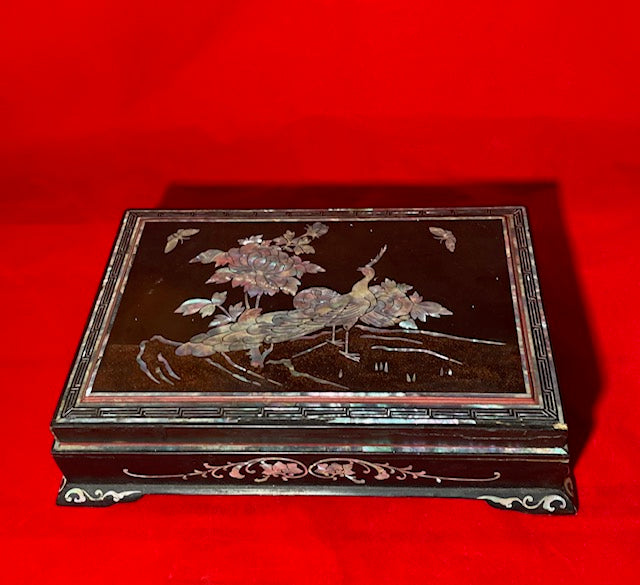 19th Century Lacquer and Mother of Pearl Box