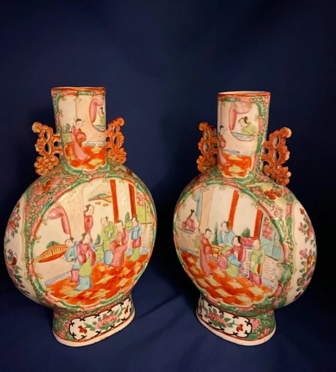 Pair of 19th Century Rose Medallion Porcelain Vases