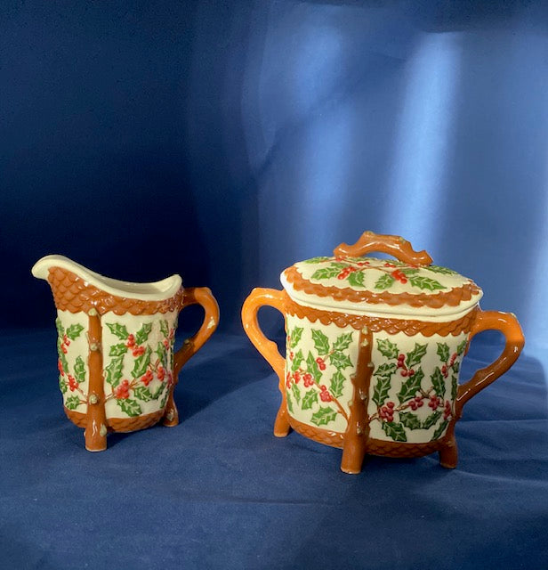 Holland Mold Holly Berry Creamer and Sugar Bowl Christmas Decor