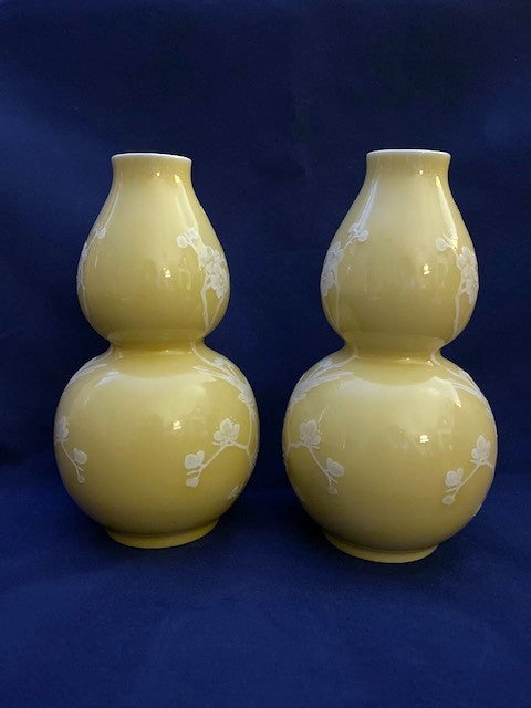 Pair of Yellow Glaze Chinese Porcelain Vase 20th C