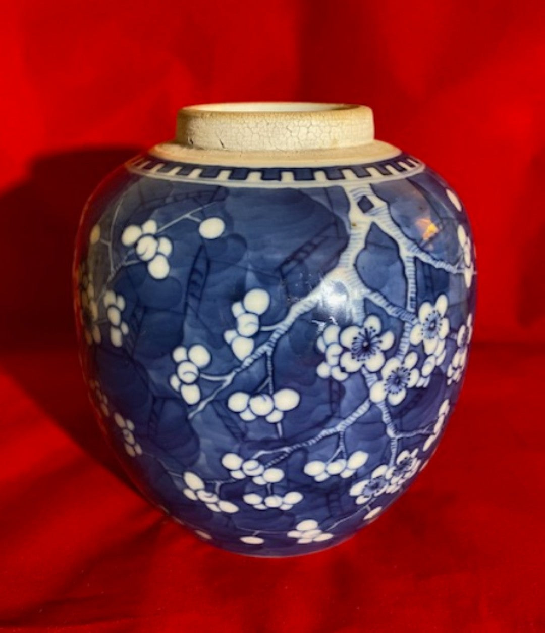 18th C Chinese Porcelain Prunus Cracked Ice Ginger Jar