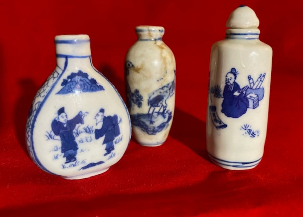 Antique and Vintage Blue and White Porcelain Snuff Bottle