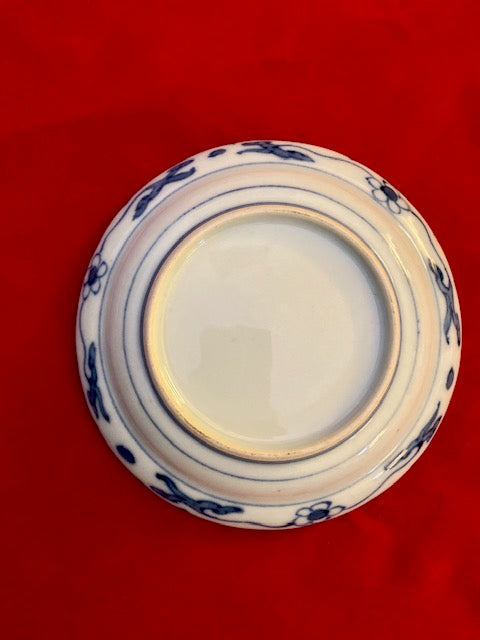 Set of 19th Century Japanese Blue and White Barbed Dishes