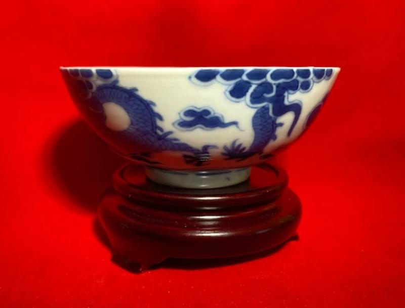 19th Century Bleu de Hue Horse and Dragon Bowl 1