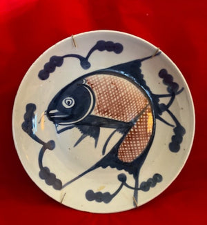 Underglaze Blue and Red 18th C Chinese Fish Plate